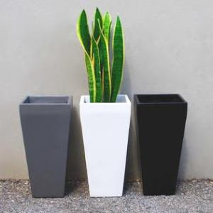Root and Stock ETS1326 BLK Windsor Tall Square Planter   Black   L     Root and Stock Root and Stock Windsor Tall Square Planter   Black   L 13