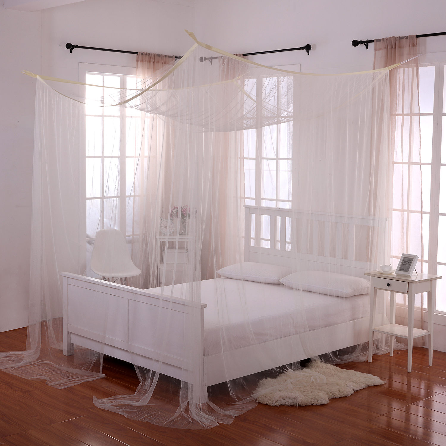 Casablanca Palace 4 Post Bed Sheer Panel Canopy