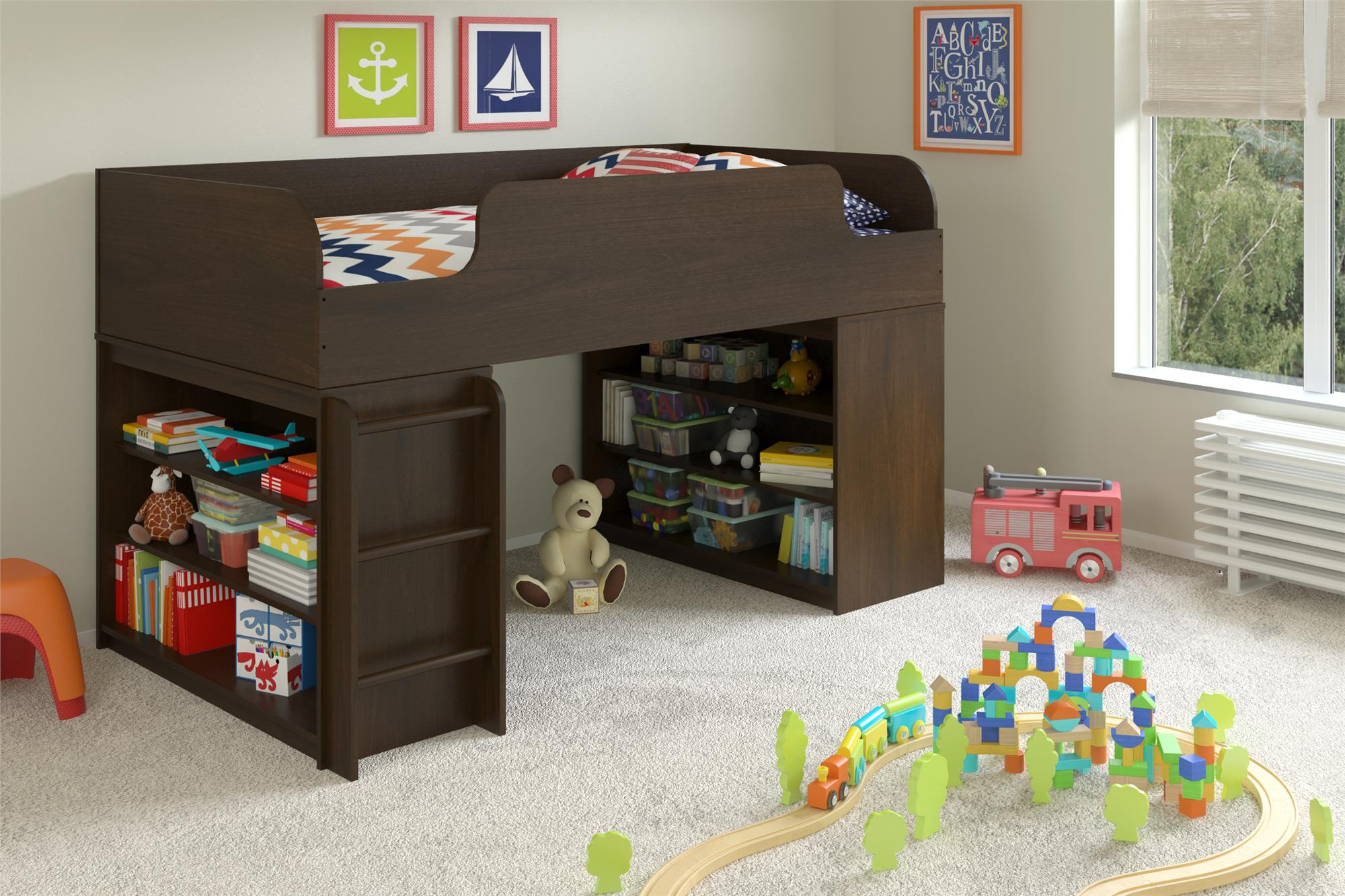 Dorel Elements Resort Cherry Loft Bed With Two Bookcases