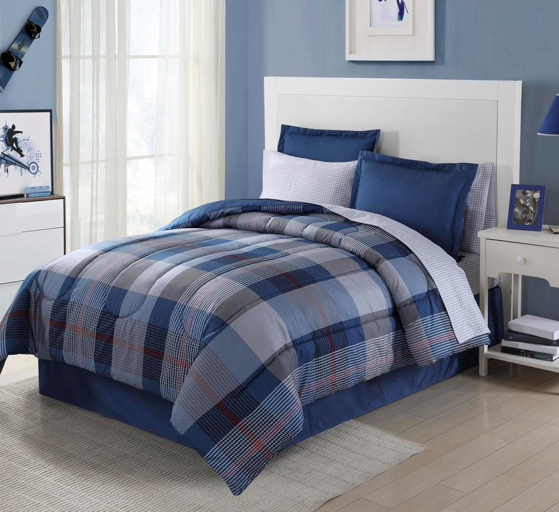 Essential Home 8 Piece Complete Bed Set Blue Plaid
