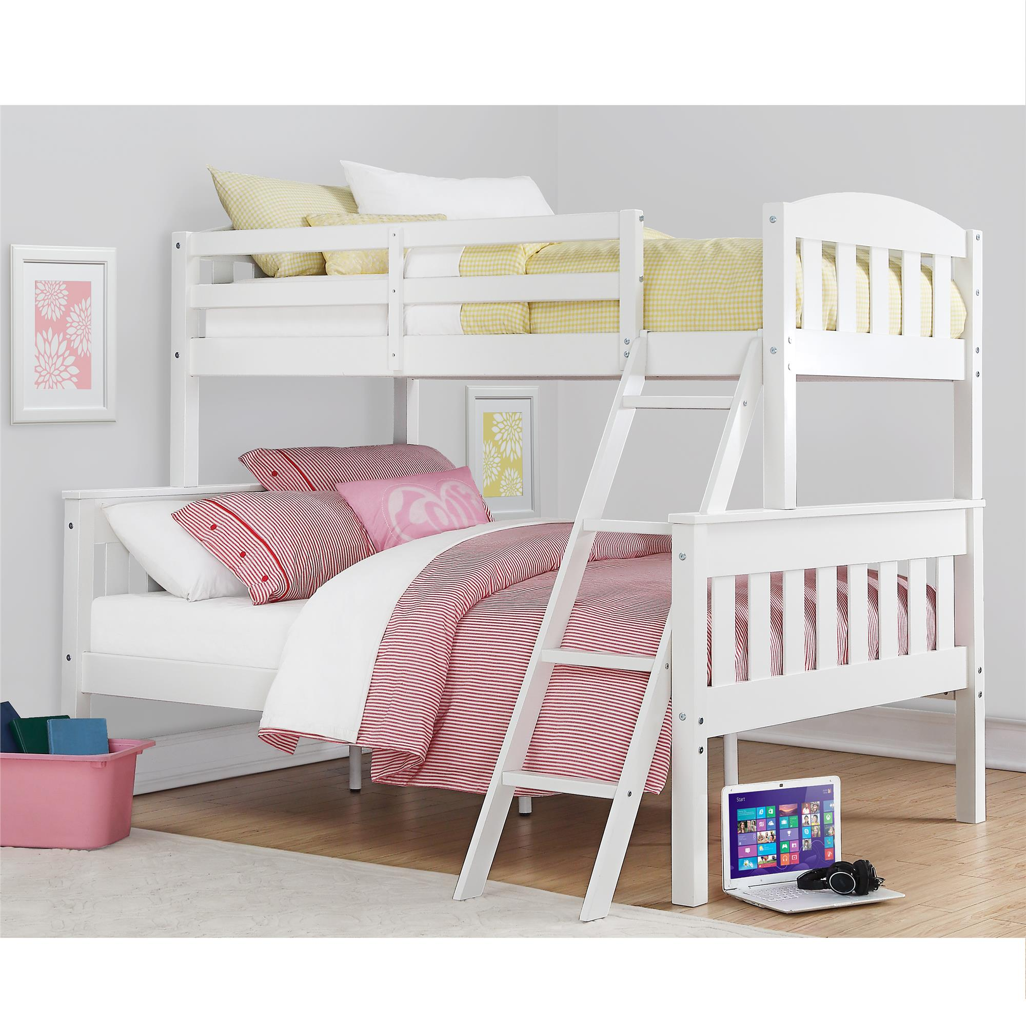 Dorel Airlie White Twin Over Full Bunk Bed