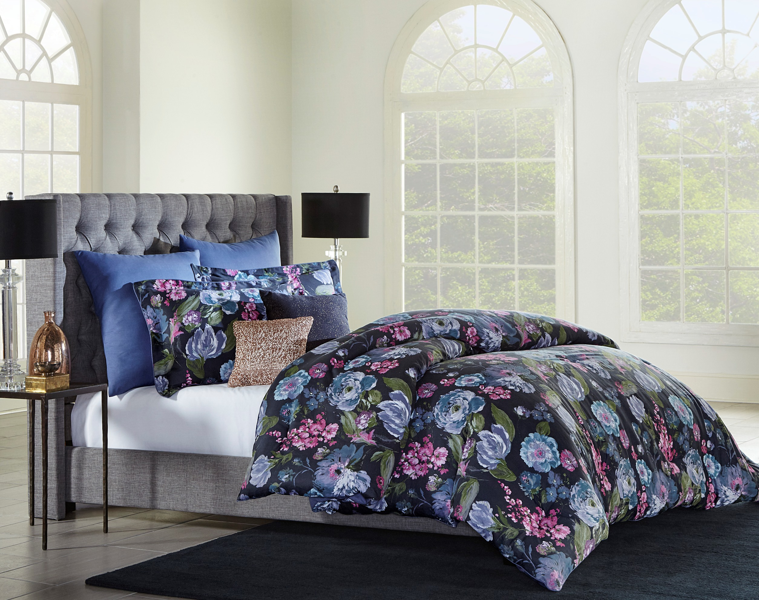 Jaclyn Smith Dark Floral Comforter Set Home Bed Amp Bath