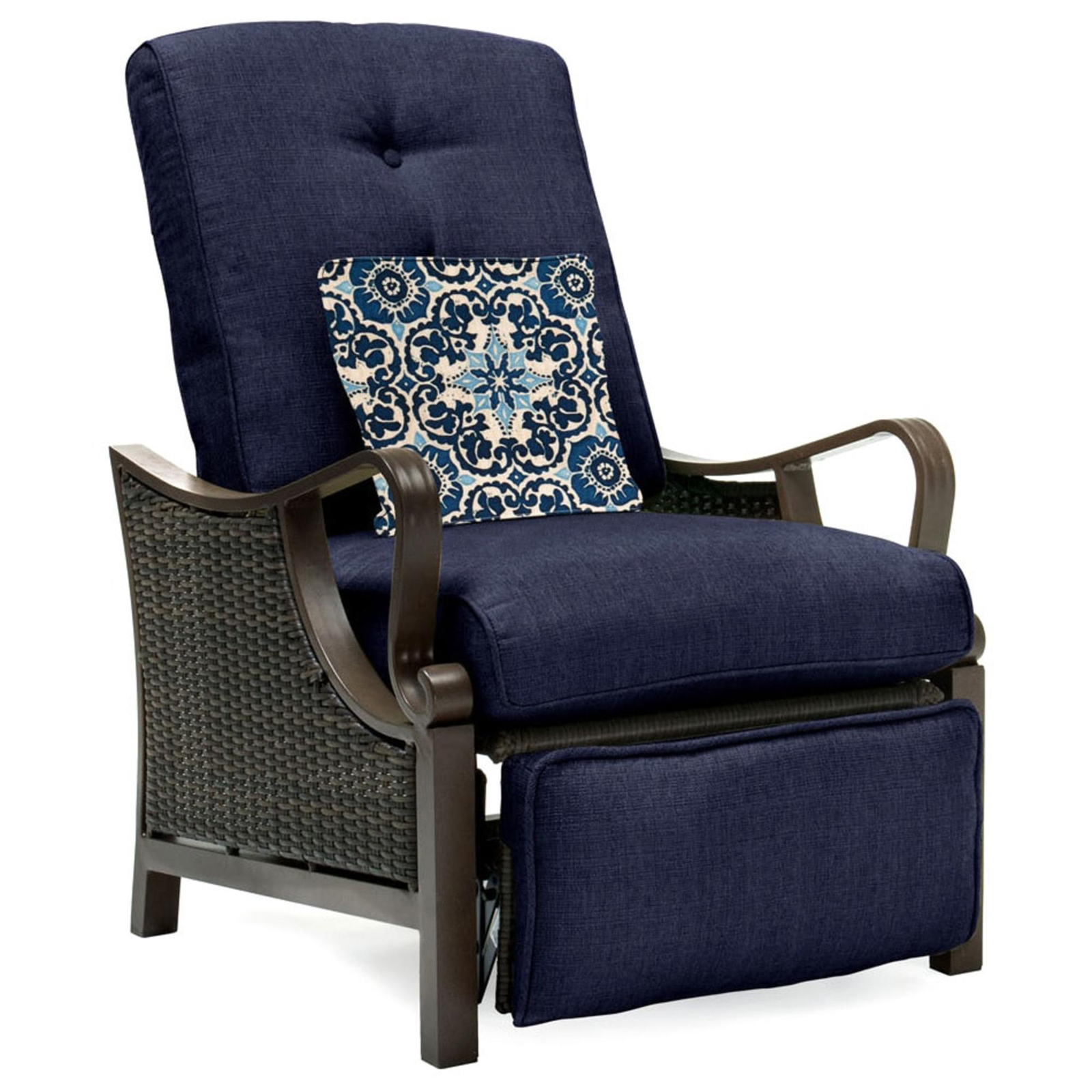 Outdoor Seating   Patio Chairs   Sears Hanover Ventura Navy Blue Steel Resin Outdoor Luxury Recliner Brown Navy