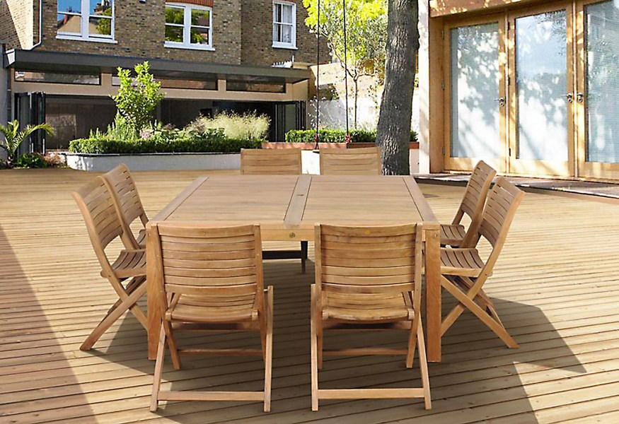 Amazonia Cabana 9 Piece Square Teak Wood Patio Dining Set
