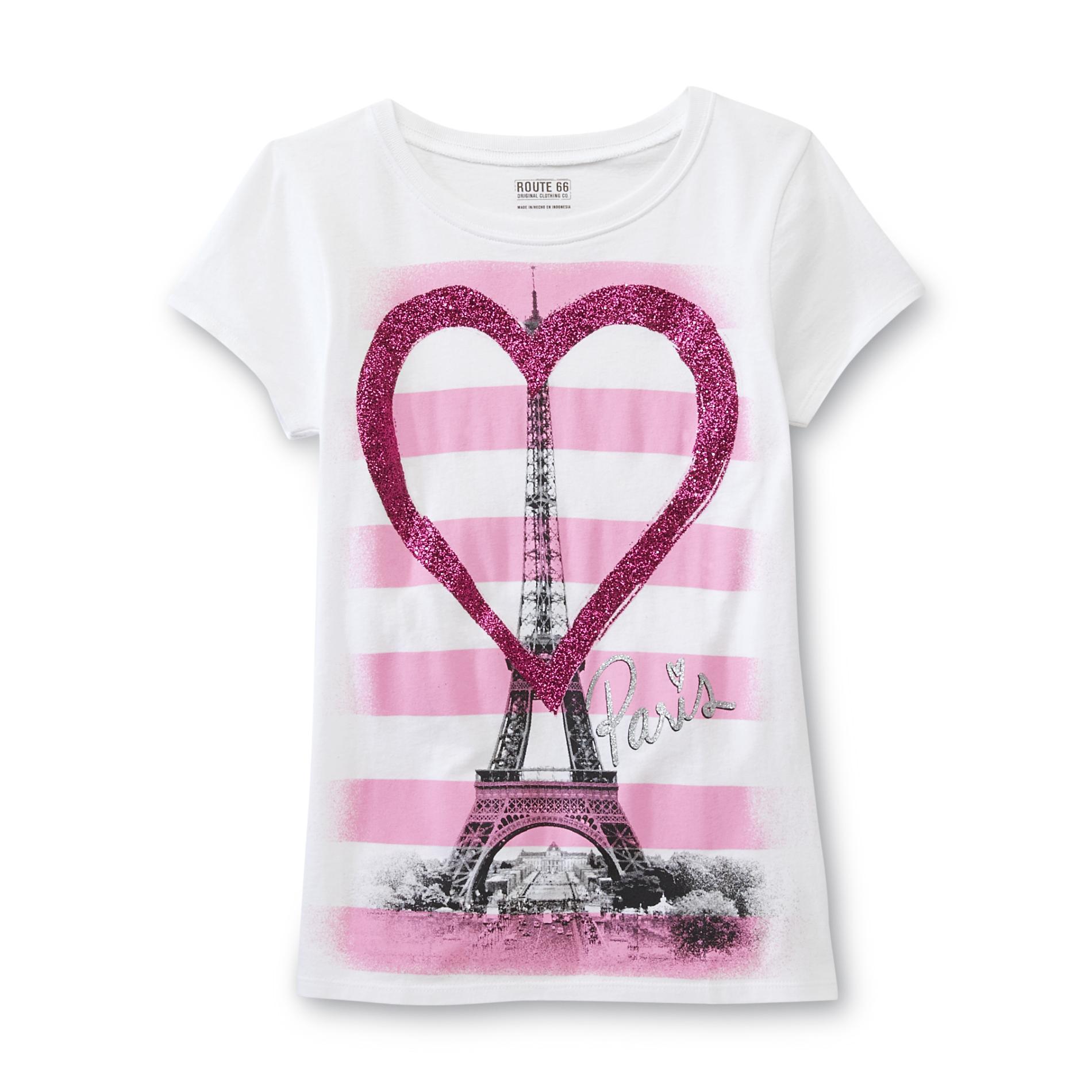 Route 66 Girl S Glitter Heart T Shirt Paris Kids