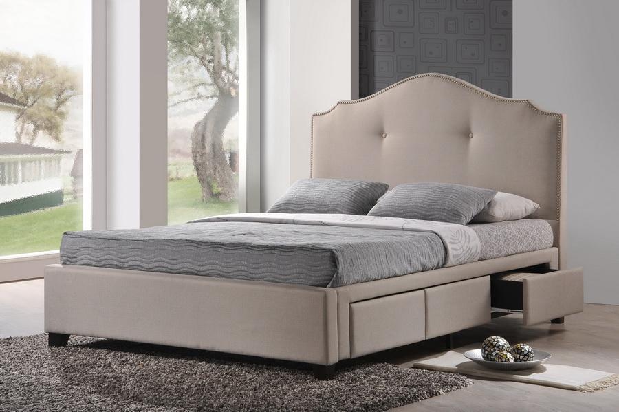 Baxton Studio Armeena Beige Linen Modern Storage Bed With