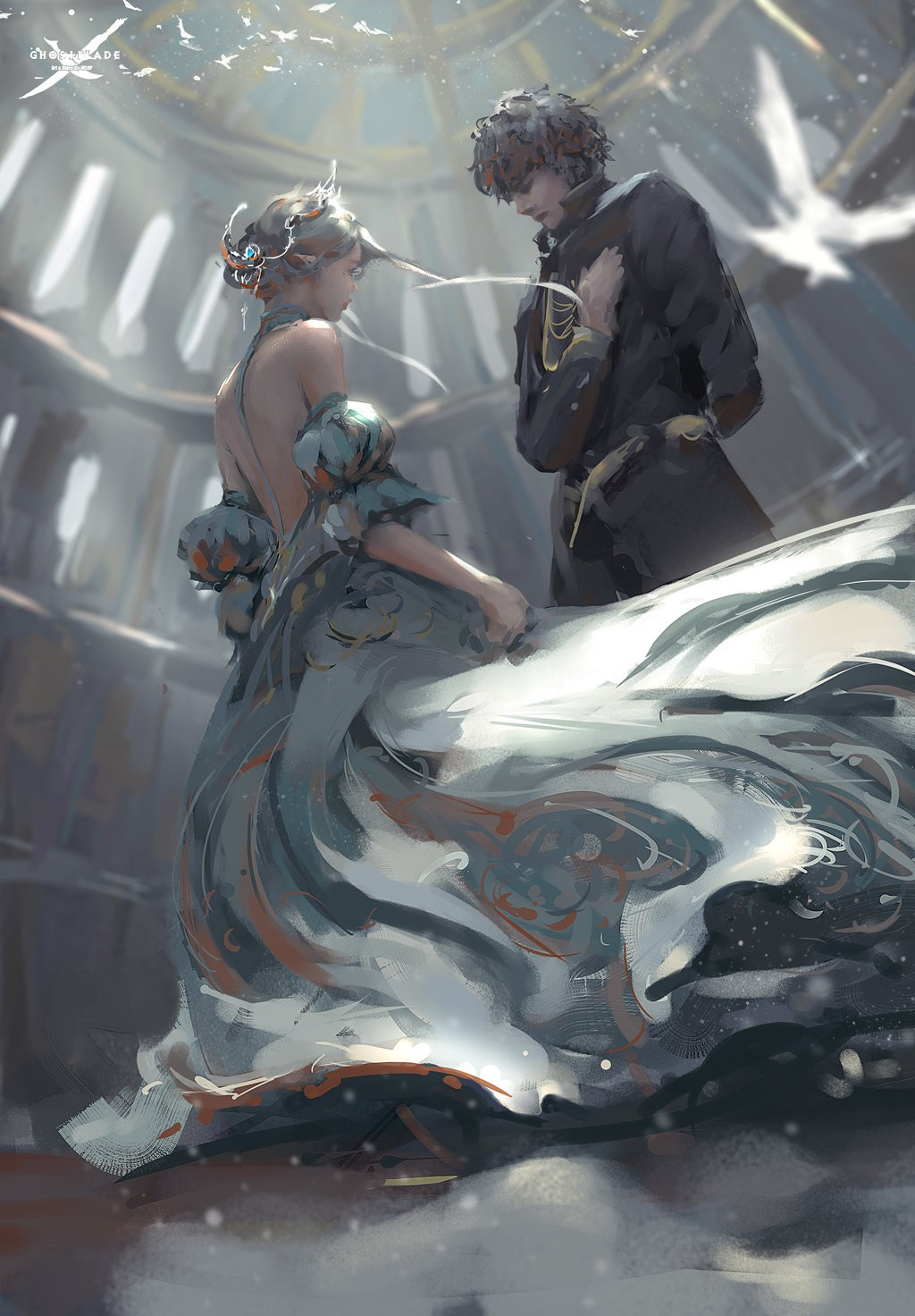 knight and princess - 736×1058