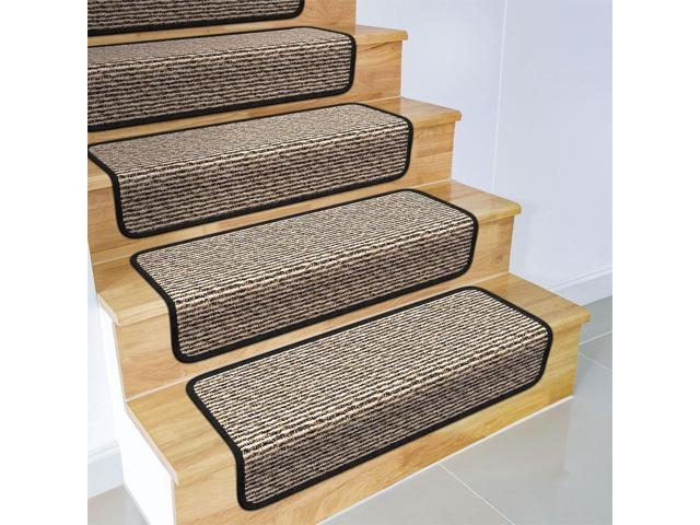 Set Of 15 Overstep Attachable Carpet Stair Treads Black Ripple | Black Carpet Stair Treads | Bullnose | Padded | Stair Runner | Staircase | Non Slip Stair Tread