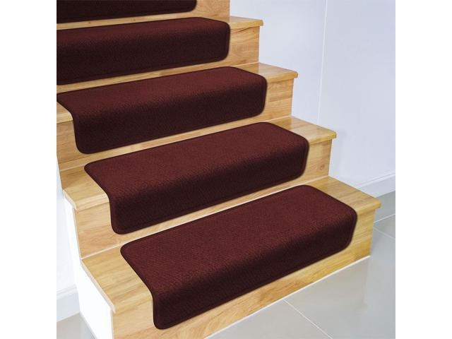 Set Of 12 Overstep Attachable Carpet Stair Treads Burgundy 17   Plush Carpet Stair Treads   Dog Cat Pet   Iron Frost   Carpet Runners   True Bullnose Carpet   Bullnose