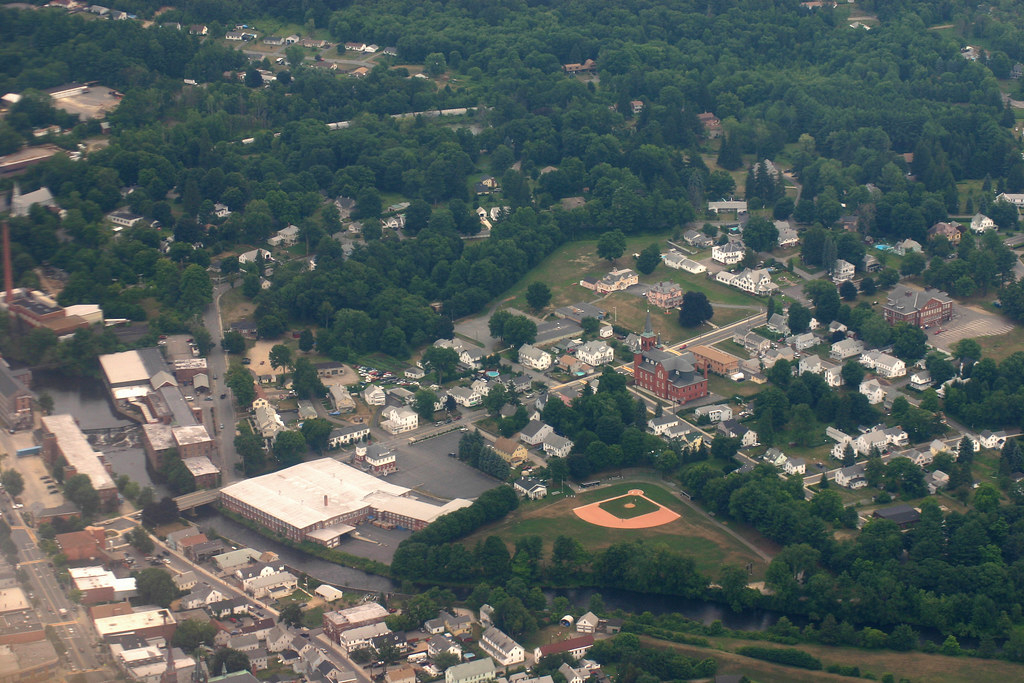 Aerial View Of A Small Town Center In Central Massachusett