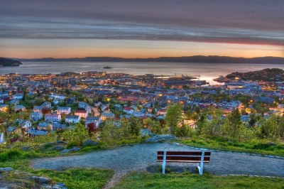 Trondheim by night   Picture is taken from Kuhaugen a ...