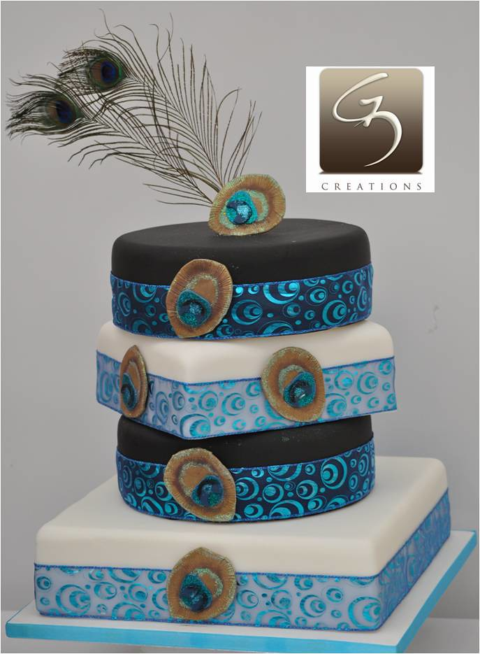 Peacock wedding cake   This is a four tier square and round       Flickr     Peacock wedding cake   by G3 Creations  Nikis Cakes