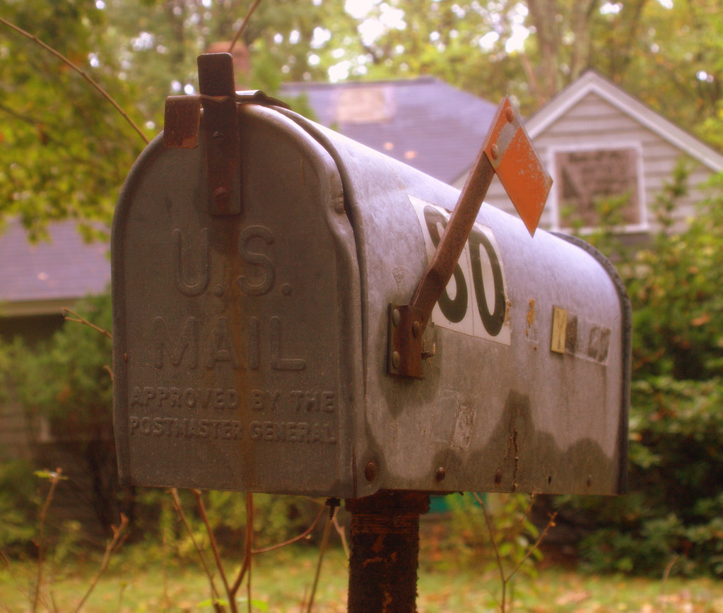 Us Mail Mail Box Outside A Derelict House In Acton Ma