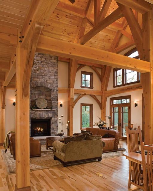 Timber Treasure Timber Frame Home Great Room A Stately