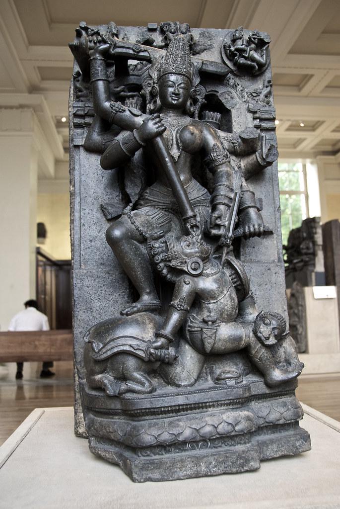 Stone Sculpture Of Durga Mahishasuramardini In The British