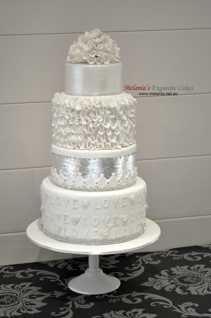 white wedding cake with silver leaf  lustre  ruffle and su      Flickr     white wedding cake with silver leaf  lustre  ruffle and sugar flowers    by Melania s