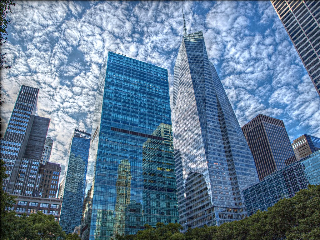 Manhattan S Buildings Reflections From Bryant Park I
