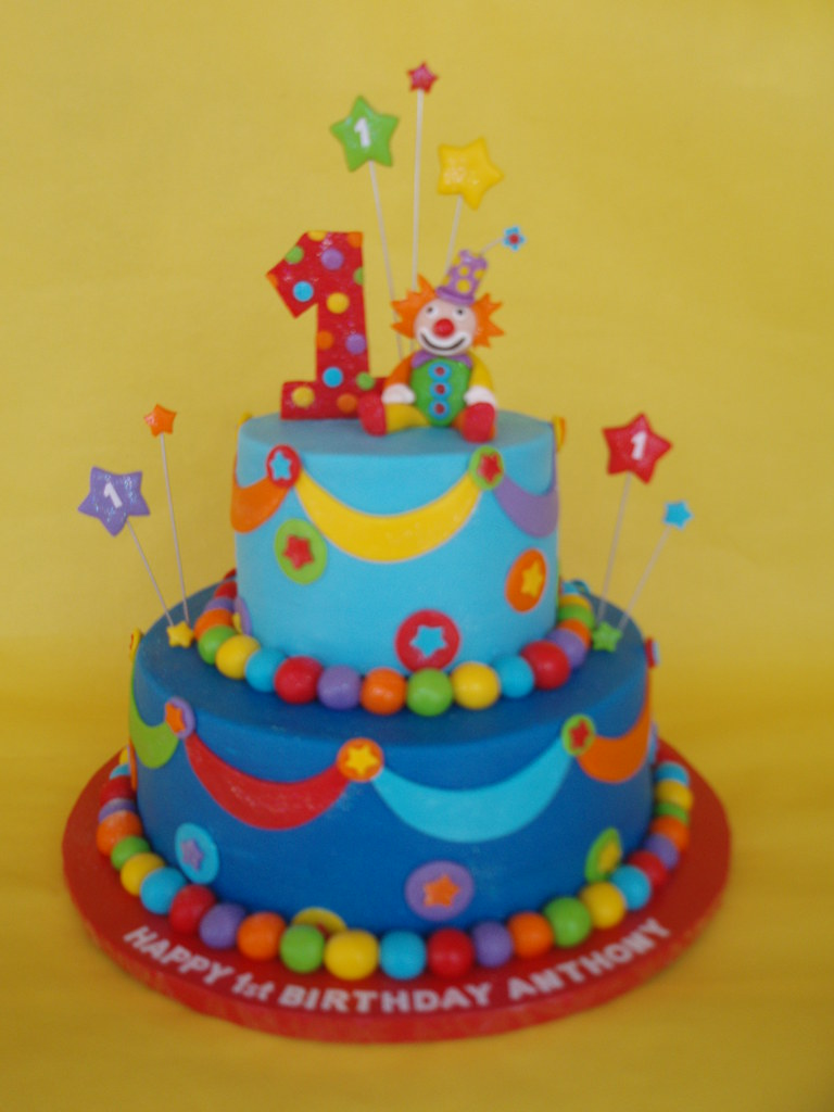 Colorful Clown First Birthday Cake Little Anthony Turned