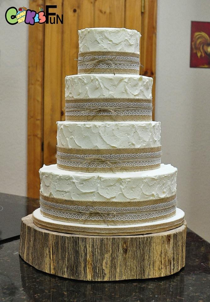 4 tiered Rustic Burlap and Lace Wedding Cake   bsheridan1959   Flickr     4 tiered Rustic Burlap and Lace Wedding Cake   by bsheridan1959