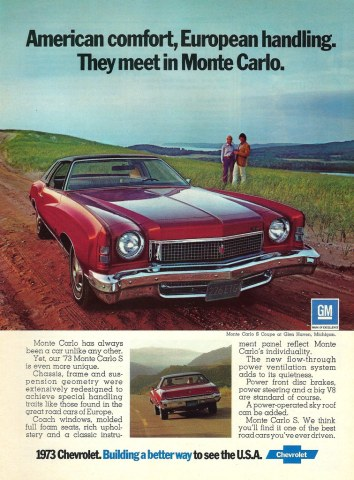 1973 chevrolet cars » Vintage Automobile Advertising   1973 Chevrolet Monte Carl      Flickr     Vintage Automobile Advertising   1973 Chevrolet Monte Carlo  Car    Driver Magazine  October 1972