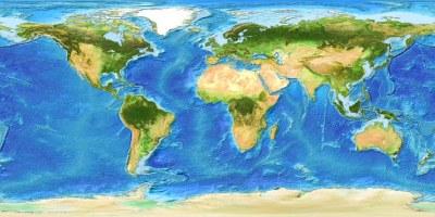 Global Bathymetry DEM With Satellite Landmass   Global ...