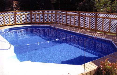 Inground Swimming Pool Rectangle Grecian Wood Deck 01 Flickr