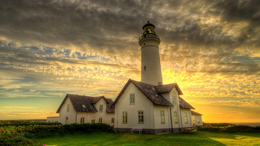 Hirtshals Lighthouse Denmark Hdr Shot In Front Of Sun