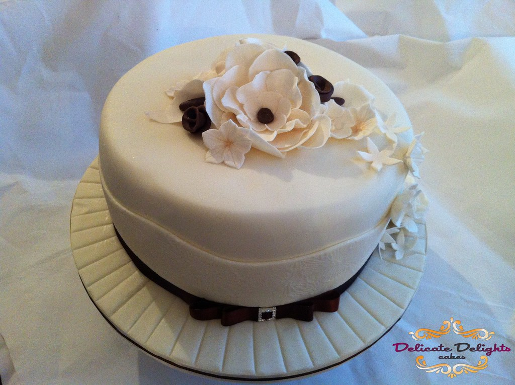 Single tier wedding cake   Brown and ivory cream theme Red v      Flickr     Single tier wedding cake   by Delicate Delights Cakes Ltd