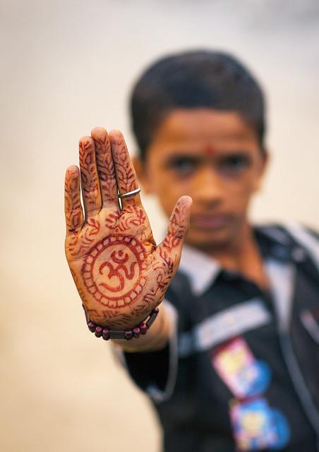 Hinduism Symbol On A Hand, Maha Kumbh Mela, Allahabad ...