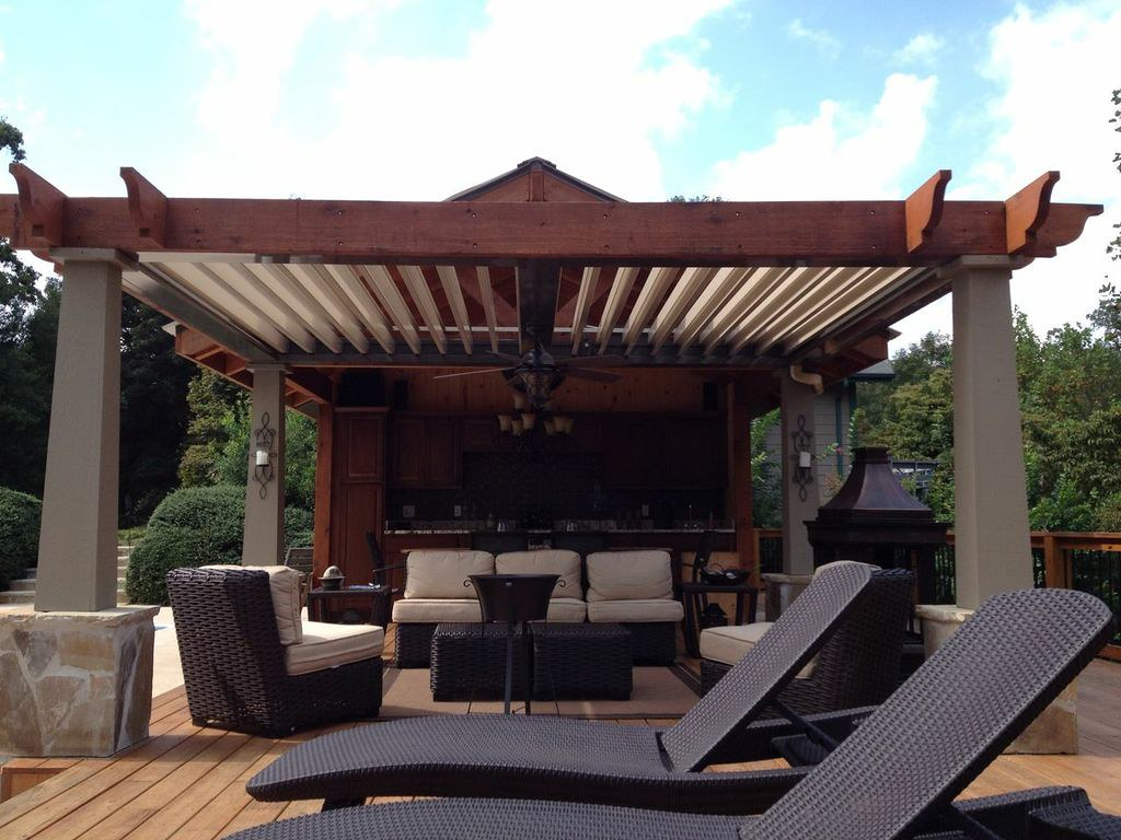 Covered Outdoor Bar Area Pergolas Darin Chamberlin