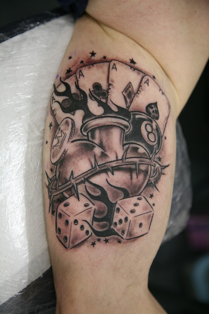 Tattoo Spades Flaming Ace