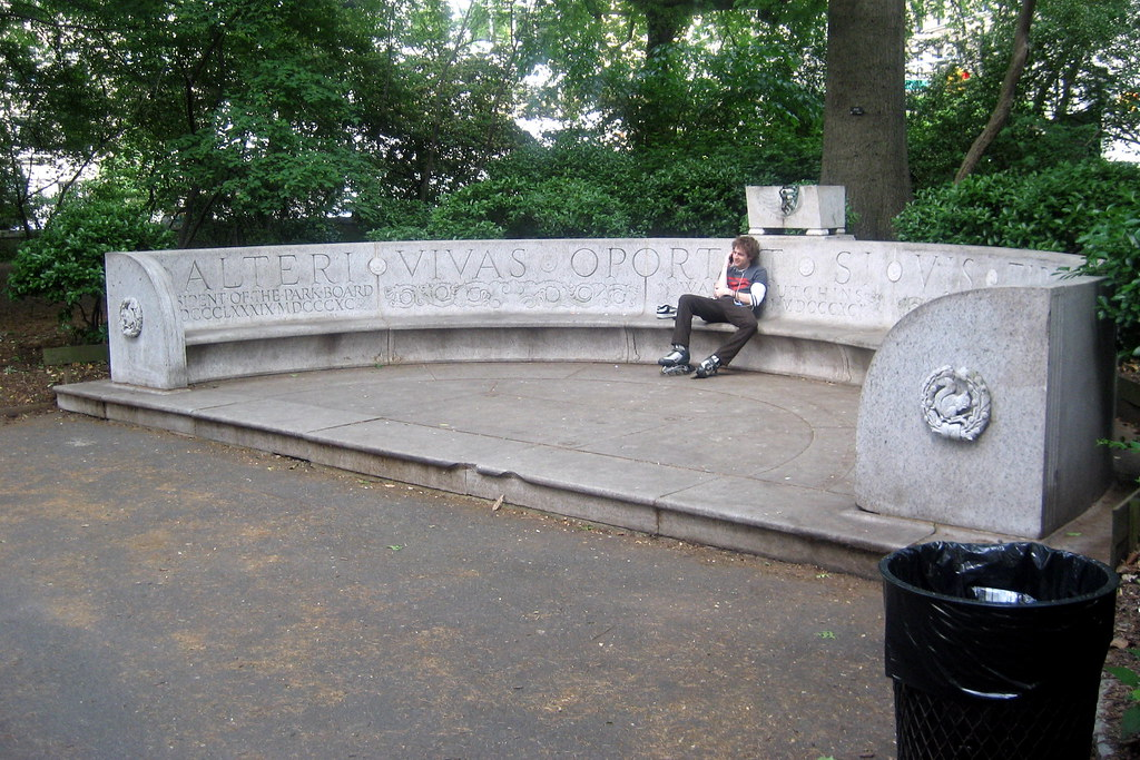 Nyc Central Park Waldo Hutchins Bench Though There