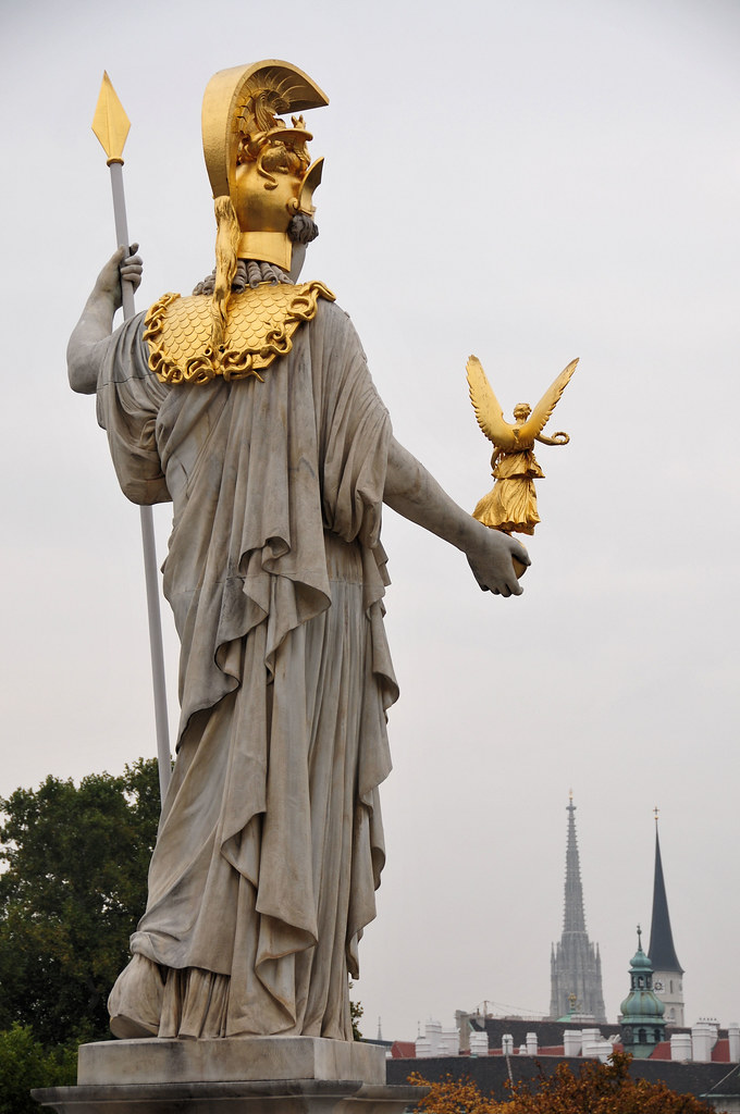 The Statue Of Athena Austrian Parliament Vienna The