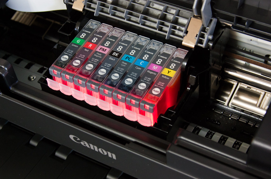 Printer Ink Cartridges In A Canon Pixma Printer This