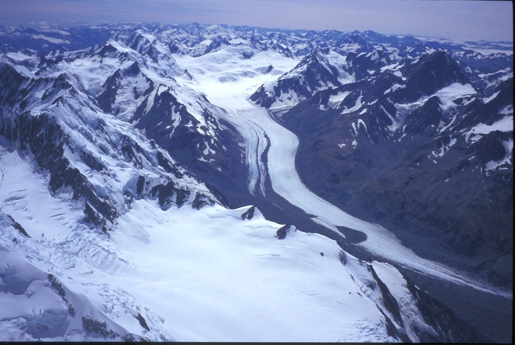 Tasman Glacier From Mt Cook Aoraki Summit View Over The