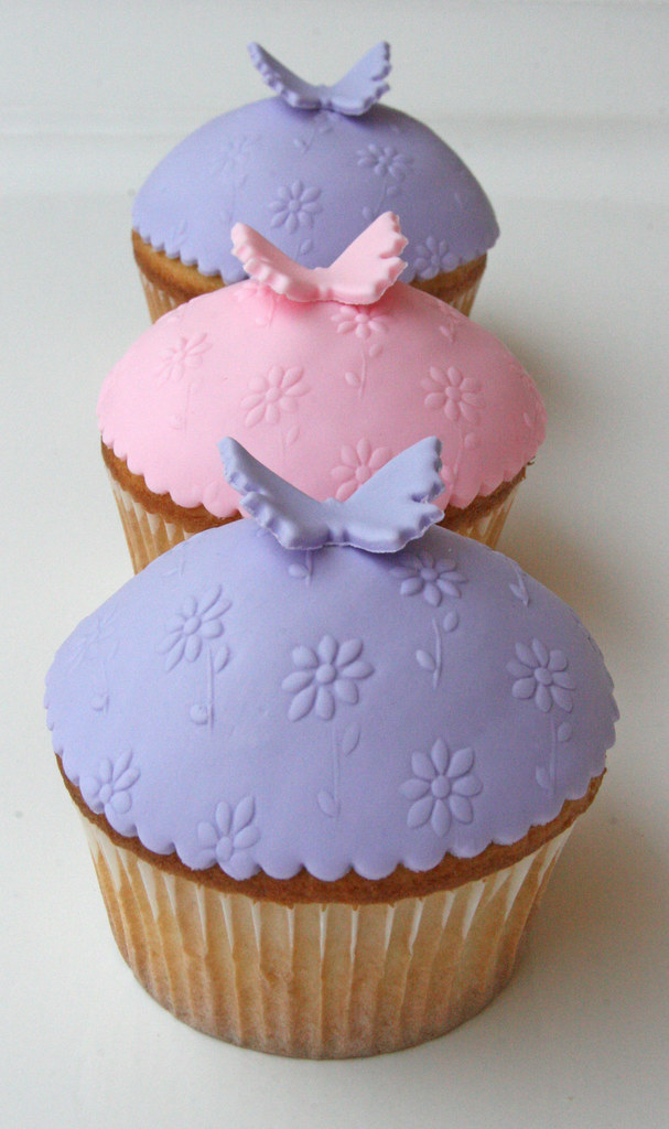 Butterfly Cupcakes Fondant Covered Vanilla Cake