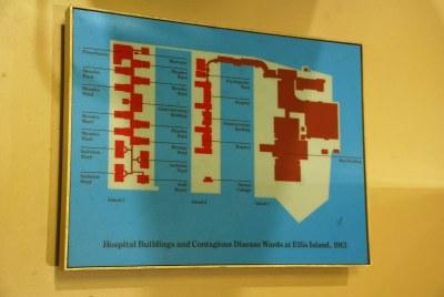 Ellis Island map | Map of hospital buildings and Ellis ...