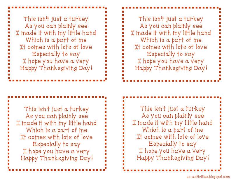 Thanksgiving Handprint Turkey Poem Template
