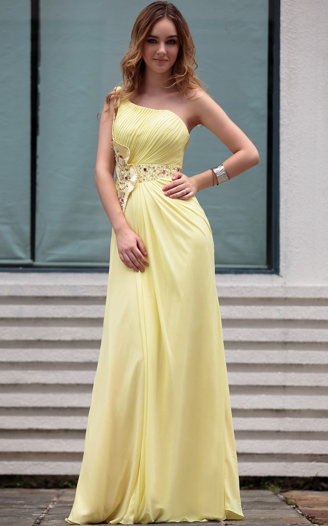 Hot Sale Modern One Shoulder Yellow With Ruffle Arabic Par Flickr