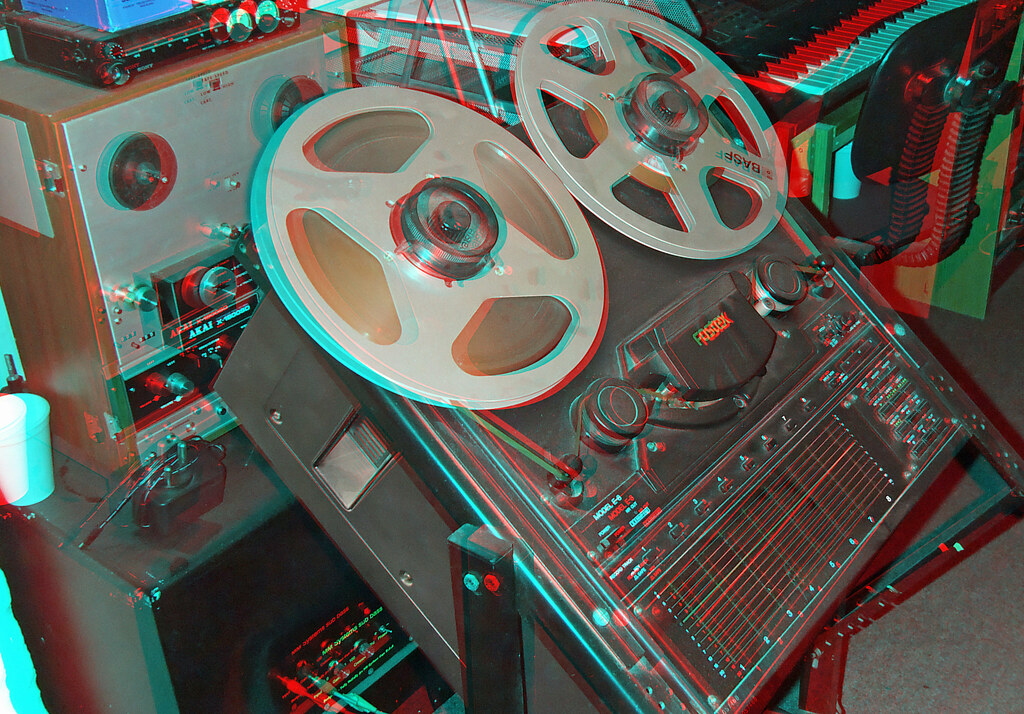 In A Recording Studio In Anaglyph 3d Red Blue Cyan Glass