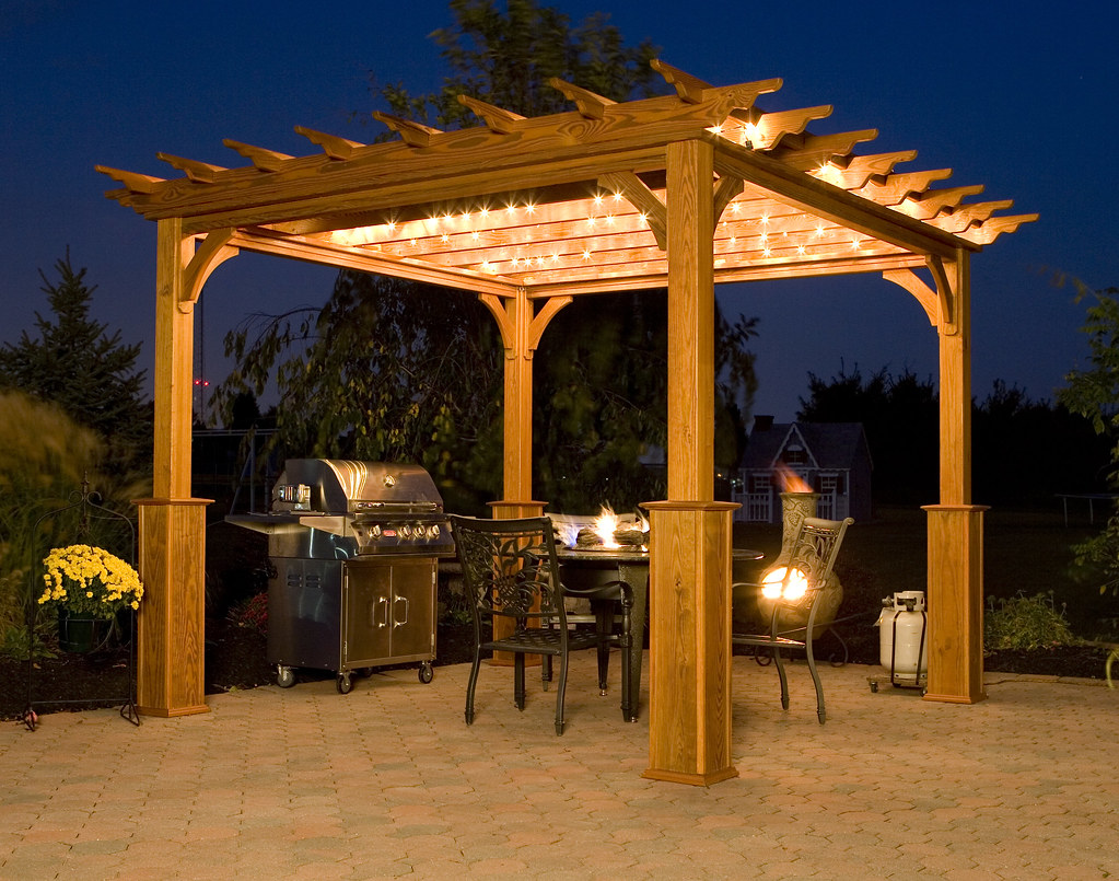 Pergola On Patio At Night 10 X 10 Deluxe 4 Beam