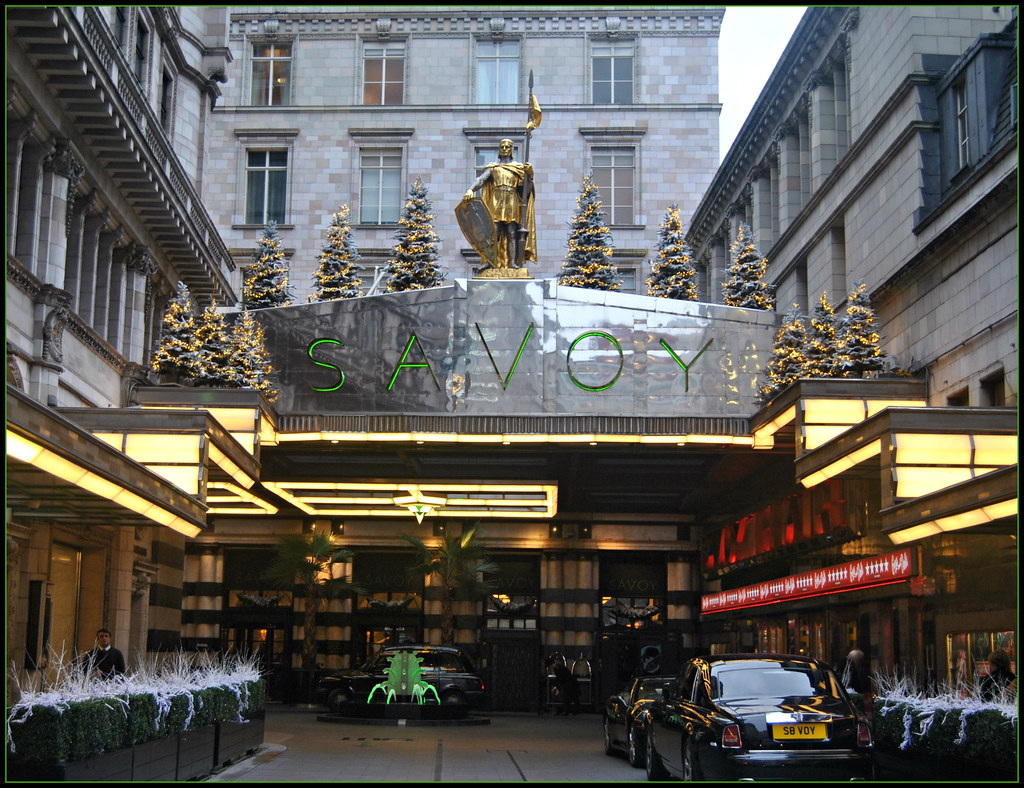 Christmas At The Savoy Hotel In The Strand London A
