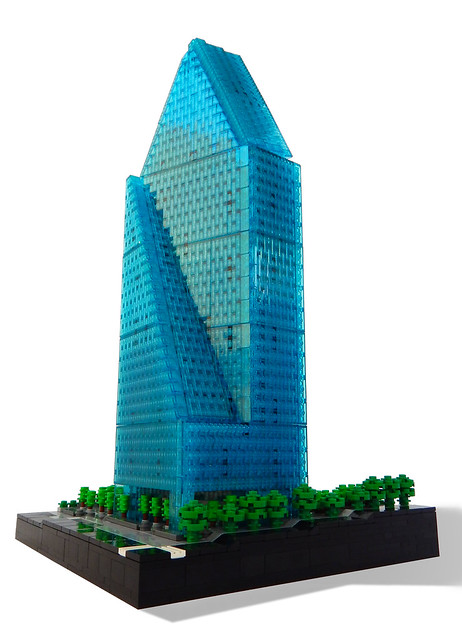 Fountain Place in Dallas  Texas  in LEGO microscale   The Brothers     The building is a refreshing sight among surrounding rectangular structures  with its interesting angles all around  and Rocco nails it with LEGO bricks