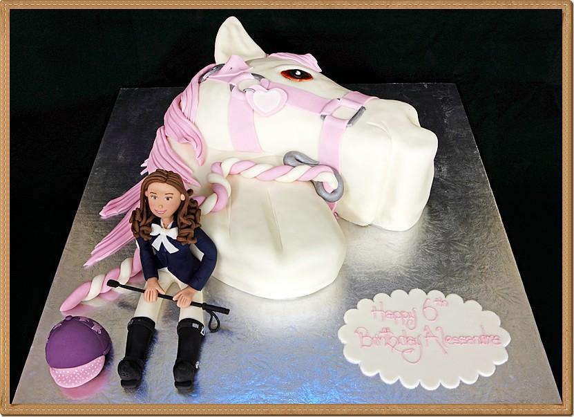 3d Fondant Horse Head And Girl Rider Kids Cake