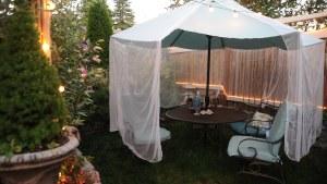 Mosquito Netting Over The Blue Green Umbrella, Patio Set