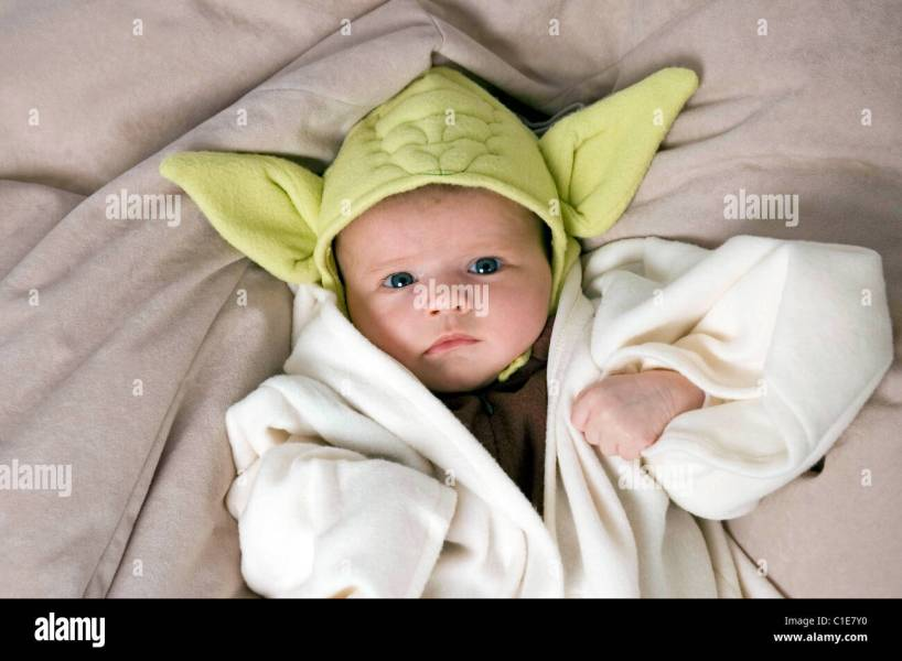 Two month old baby girl dressed up as Yoda from  Star Wars  for a     Two month old baby girl dressed up as Yoda from  Star Wars  for a fancy  dress party