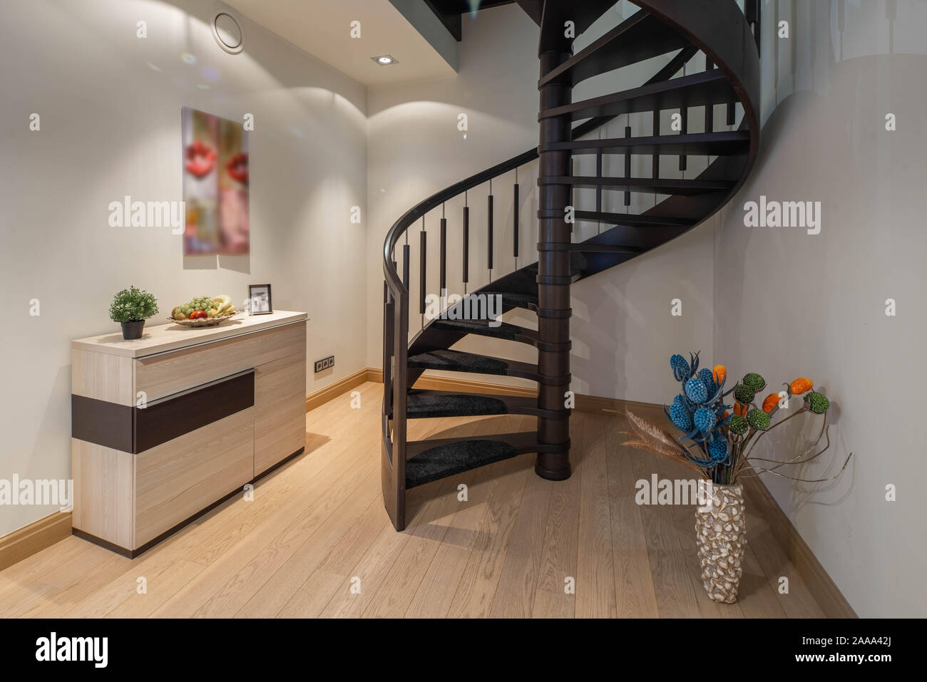 Modern Interior Of Studio Apartment Stairs To The Second Floor   Stairs To Second Floor Design   Bathroom Next   Space Saving   Square Shaped   Kitchen   Stairway