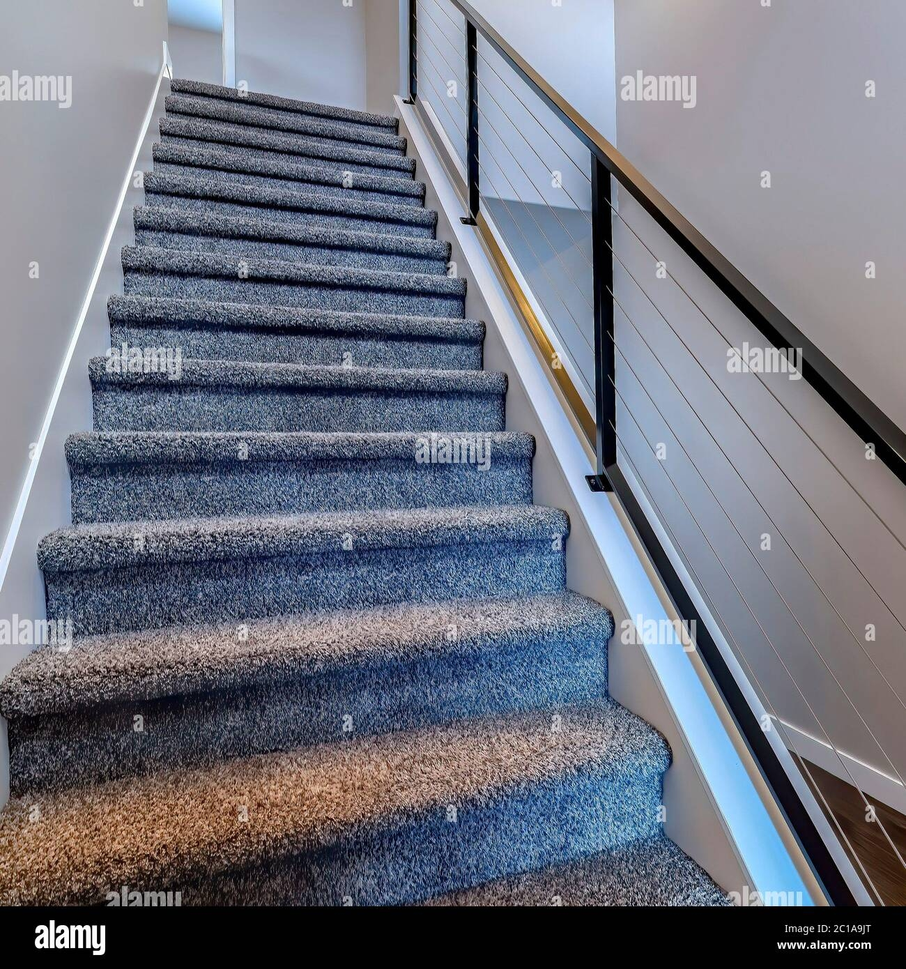 Square Indoor Stairs Of Home With Metal Handrail And Gray Carpet | Square Handrail For Stairs | Balustrade | Outdoor | Hand Rail | Low Cost | Residential