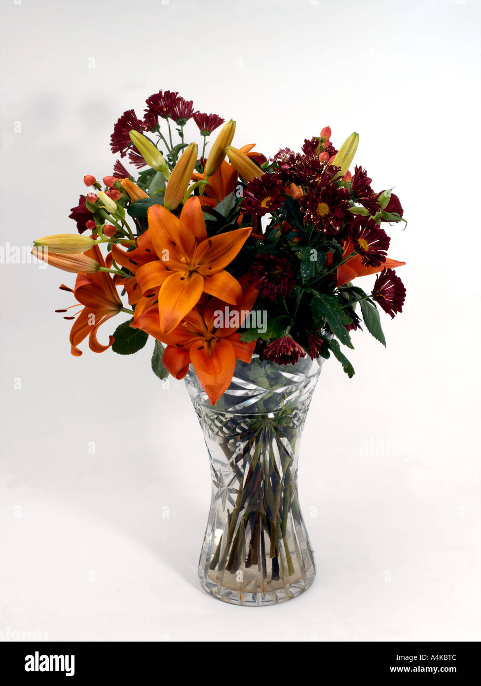 Vase of Flowers Orange Lilies and Purple Daisies with Glitter in     Vase of Flowers Orange Lilies and Purple Daisies with Glitter in Lead  Crystal Vase