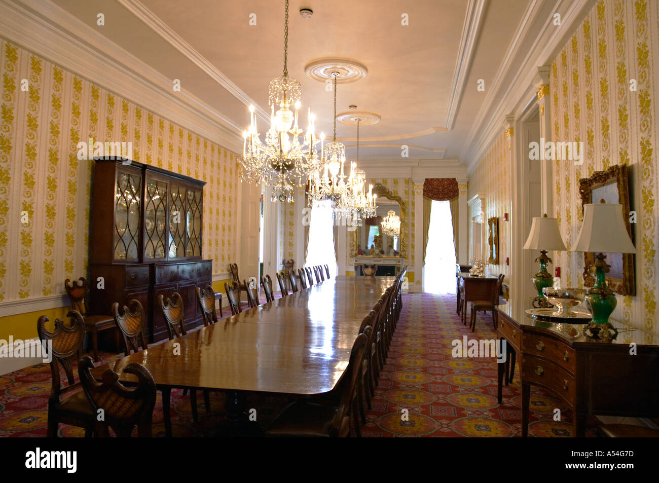 ILLINOIS Springfield Interior of Executive Mansion governors home     ILLINOIS Springfield Interior of Executive Mansion governors home dining  room long table